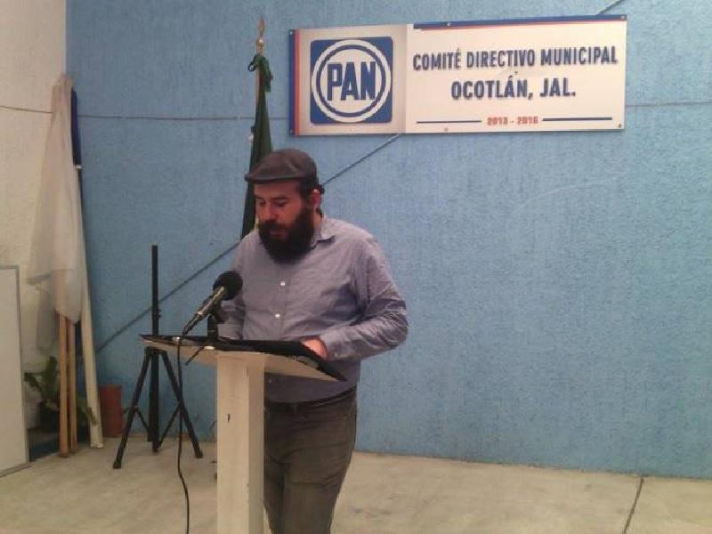 Anwar Sahagún Bustos, secretario general del PAN en Ocotlán. Fotografía: Marcelo Ramírez