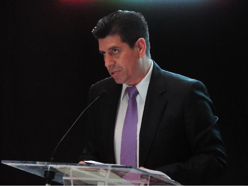 Durante el tercer informe de gobierno de Enrique Robledo.