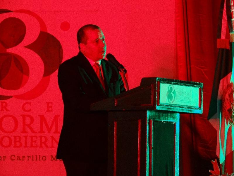 El último informe del primer edil Víctor Carrillo Muñoz. Fotografía: Beto Iñaki
