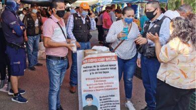 Instalan filtros sanitarios en tianguis de Atotonilco. Foto: Cortesía.