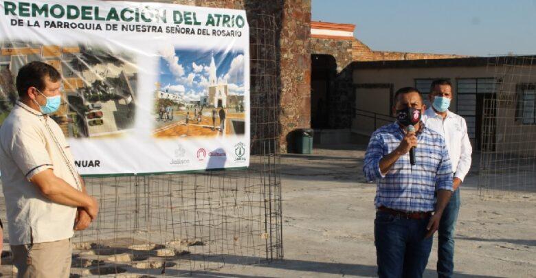 Inician remodelación del atrio de la parroquia de Nuestra Señora del Rosario. Foto: Cortesía.